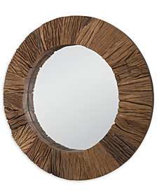 Convex Reclaimed Wood Mirror, Quick Ship