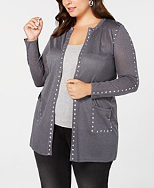 Black Label Plus Size Sheer Studded Long Cardigan