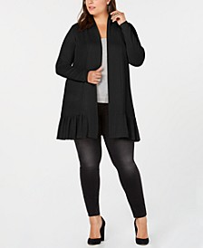 Belle by Plus Size Ruffle-Hem Long Cardigan