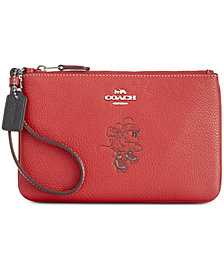 COACH Minnie Mouse Motif Boxed Wristlet in Pebble Leather