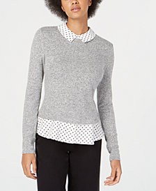 Maison Jules Layered-Look Heart-Print Detail Top, Created for Macy's
