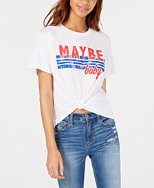 Rebellious One Juniors' Maybe Baby Tie-Front Graphic T-Shirt