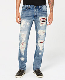 I.N.C. Men's Slim-Straight Fit Plaid-Patched Destroyed Jeans, Created for Macy's