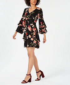 Robbie Bee Petite Bell-Sleeve Printed Dress