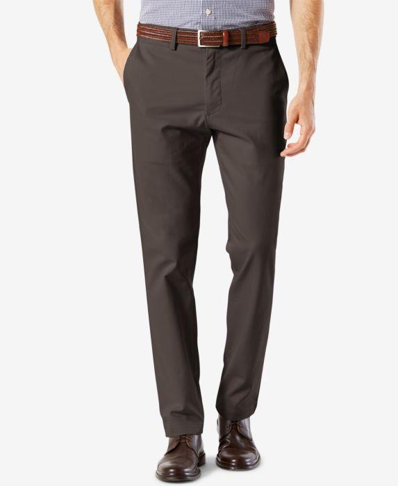 Dockers Mens Signature Lux Cotton Slim Fit Stretch Khaki Pants, Gray, Size: 33x32