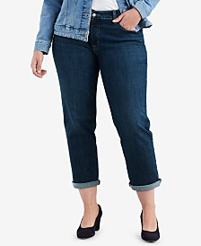 Levi's® Trendy Plus Size  Stretch Boyfriend-Fit Jeans