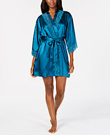 Thalia Sodi Lace-Trim Short Wrap Robe, Created for Macy's