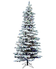 Vickerman 7.5' Flocked Utica Fir Slim Artificial Christmas Tree with 400 Multi LED Lights