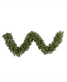 """9' x 14"""" Grand Teton Artificial Christmas Garland with 100 Warm White LED Lights"""