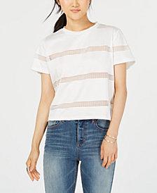 Gypsies & Moondust Juniors' Striped Mesh T-Shirt