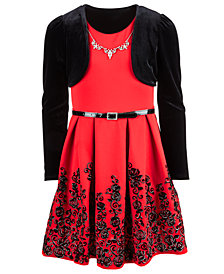 Beautees Big Girls Plus 2-Pc. Velvet Shrug & Flocked Dress Set