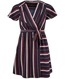 Monteau Big Girls Striped Faux-Wrap Dress