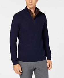 Tasso Elba Men's Supima® Mock-Neck Textured Sweater, Created for Macy's