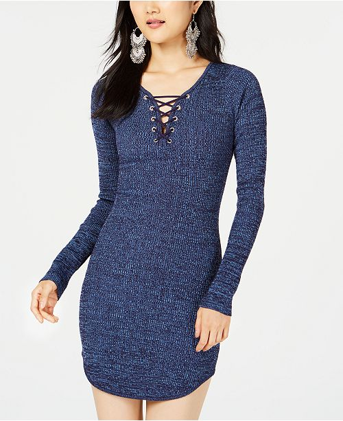 435a8e3948 Planet Gold Juniors  Lace-Up Bodycon Sweater Dress   Reviews ...