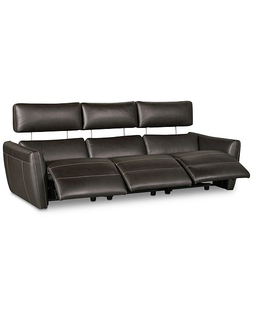 CLOSEOUT! Fanna 96 3-Pc. Leather Sofa Sectional with 3 Power Recliners and  Articulating Headrest, Created for Macy\'s