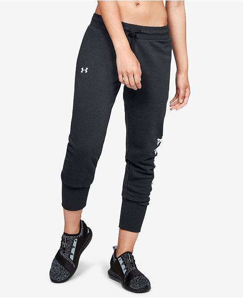 Under Armour Fleece Logo Joggers - Pants - Women - Macy s cb0f34fcf3