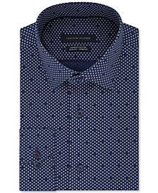 Tommy Hilfiger Men's Fitted Performance Stretch Supima Pattern Dress Shirt