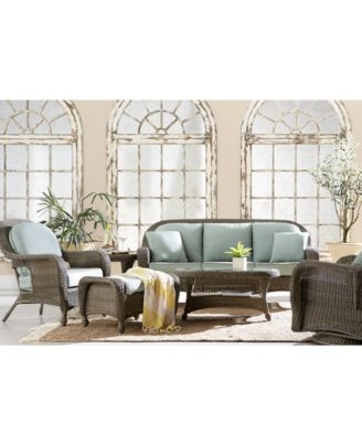 Sandy Cove Outdoor Wicker 4-Pc. Seating Set (1 Loveseat, 2 Swivel Gliders and 1 Coffee Table), Created for Macy's