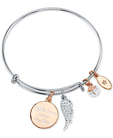 "Unwritten ""With Brave Wings She Flies""  Adjustable Charm Bangle Bracelet in Rose Gold-Tone & Stainless Steel"