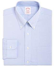 Men's Madison Classic/Regular Fit Non-Iron Supima Solid Pinpoint Light Blue Dress Shirt