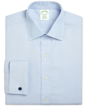 Brooks Brothers Men's Milano Extra-Slim Fit Non-Iron Broadcloth Solid Light Blue French Cuff Dress Shirt