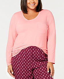 Charter Club Plus Size Scoop-Neck Pajama Top, Created for Macy's