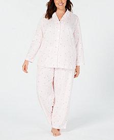 Charter Club Plus Size Printed Fleece Pajama Set, Created for Macy's