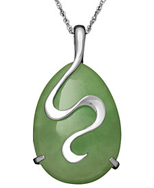 Sterling Silver Necklace, Jade Oval Snake Pendant