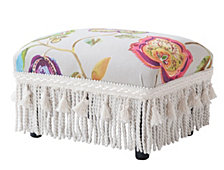 Fiona Footstool, White Multi