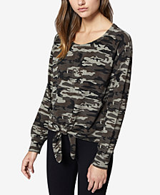 Sanctuary Laguna Camo-Print Tie-Front Sweater