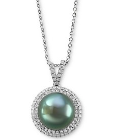 "EFFY® Cultured Tahitian Pearl (10mm) & Diamond (3/8 ct. t.w.) 18"" Pendant Necklace in 14k White Gold"