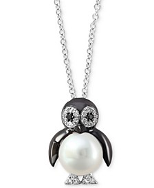 "EFFY® Cultured Freshwater Pearl (7-1/2mm) & Diamond (1/10 ct. t.w.) 18"" Penguin Pendant Necklace in 14k White Gold"