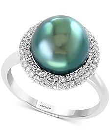 EFFY® Cultured Tahitian Pearl (10mm) & Diamond (1/3 ct. t.w.) Ring in 14k White Gold