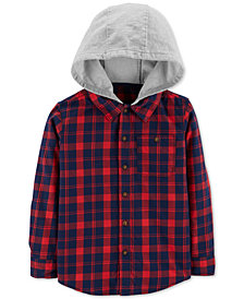 Carter's Little Boys Hooded Plaid Cotton Shirt