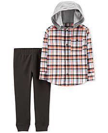 Carter's Toddler Boys 2-Pc. Hooded Flannel Cotton Shirt & Joggers Set