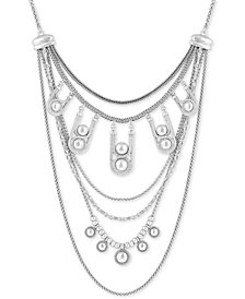 "Lucky Brand Silver-Tone Chain & Bead Statement Necklace, 19"" + 2"" extender"