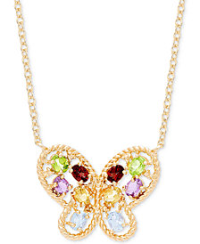 "Multi-Gemstone Mosaic Butterfly 18"" Pendant Necklace (1-5/8 ct. t.w.) in 18k Gold-Plated Sterling Silver"