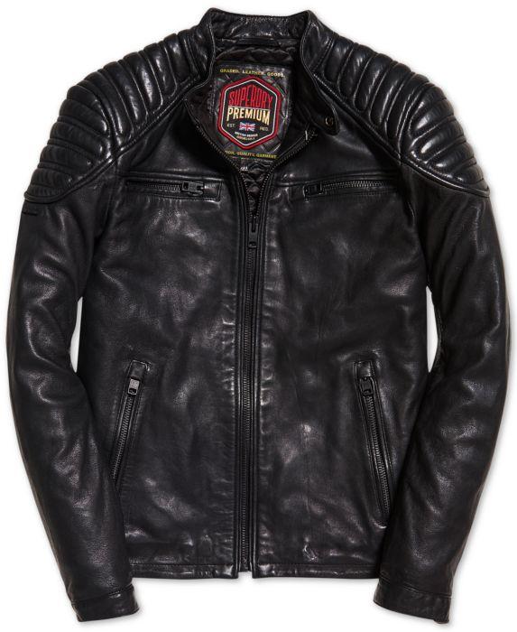 Superdry Mens New Hero Leather Racer Jacket , Black, Size: L