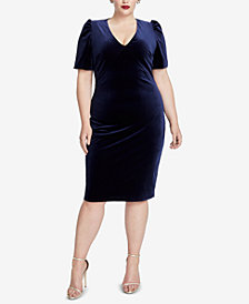 RACHEL Rachel Roy Plus Size Velvet Cutout Sheath Dress