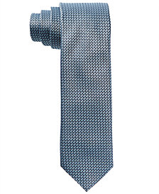 HUGO Men's Light Blue Micro Neat Skinny Silk Tie
