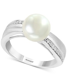 EFFY® Cultured Freshwater Pearl (8-1/2mm) & Diamond (1/10 ct. t.w.) Ring in Sterling Silver
