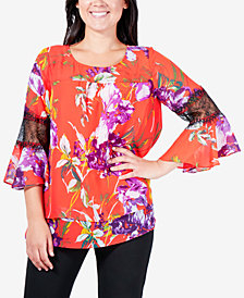 NY Collection Printed Tiered Lace-Trim Top