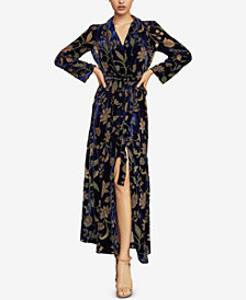 BCBGMAXAZRIA Burnout Velvet Wrap Dress