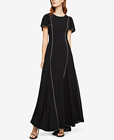 BCBGMAXAZRIA Piped Cape-Sleeve Gown