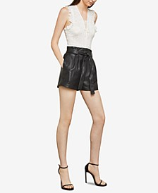 Faux-Leather Paper-Bag Waist Shorts
