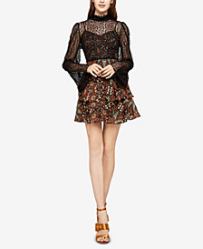 BCBGeneration Mixed-Media Fit & Flare Dress