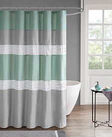 "Tinsley 72"" x 72"" Pieced and Pintucked Shower Curtain with Liner"
