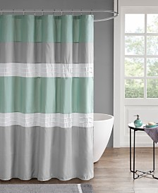 "510 Design Tinsley 72"" x 72"" Pieced and Pintucked Shower Curtain with Liner"