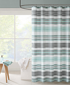 "Intelligent Design Ana 72"" x 72"" Puckering Stripe Shower Curtain"