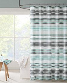 """Intelligent Design Ana 72"""" x 72"""" Puckering Stripe Shower Curtain"""